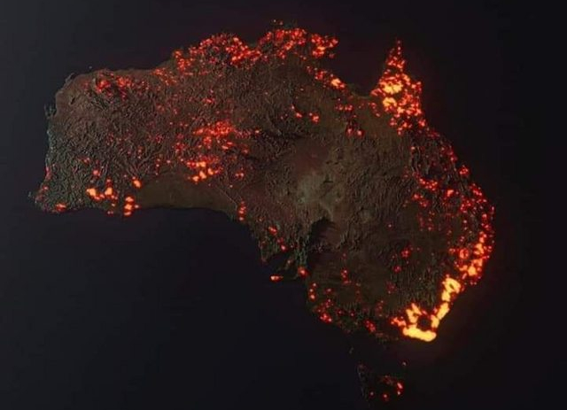 NASA image of Australia on Fire